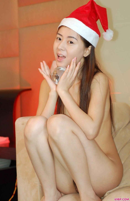 名模娜娜圣诞节沙发上的无圣光人体